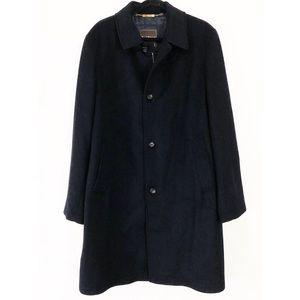 Paul Stuart Black Zip Up & Button Wool Coat